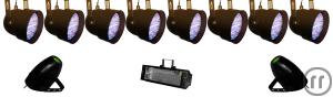 Party SET - 8 x LED Par 10mm , 2 x LED Moonflower und 1500W Stroboskop (Lichtanlage, Party, Effekt)