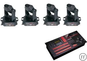 4x Jb Lighting Micro Pllus Moving-Head Komplettset