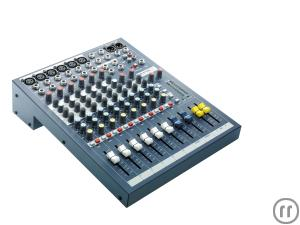 Soundcraft EPM 6 Mixer, Tonmischpult 6x Mono-, 2x Stereokanal, 2x Aux, 60mm Fader, 3-Band-EQ, 48V-Ph
