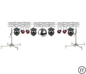 Lichtanlage 8m Traversen, 2x LED Moving Head, 8x Led Scheinwerfer, 2x Tri Phase DJ Lichtset
